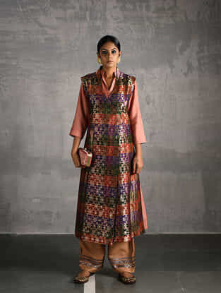 Multicolor Vintage Benarasi Silk Brocade Front-open Jacket