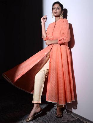 Orange Cotton Cutwork Flared Kurta with Tissue Trim