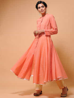 Orange Cotton Cutwork Flared Kurta with Tissue Trim