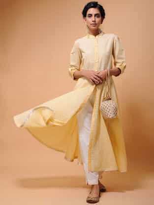 Beige Cotton Cutwork Flared Kurta with Tissue Trim