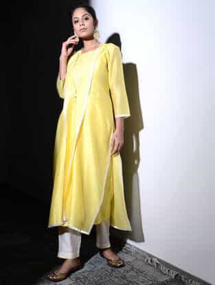 Yellow Chanderi Jacket with Cotton Cutwork Slip (Set of 2)