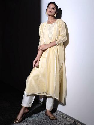 Beige Chanderi Jacket with Cotton Cutwork Slip (Set of 2)