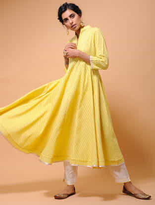 Yellow Cotton Cutwork Kalidar Kurta with Tissue Trim