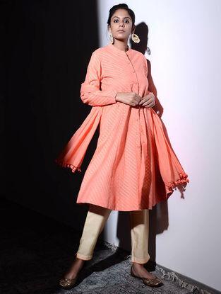 Orange Cotton Cutwork Button-down Kurta with Pockets