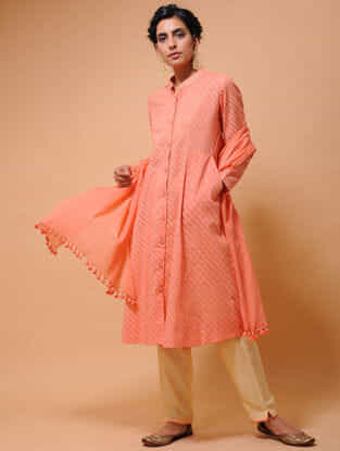 Orange Cotton Cutwork Button-down Kurta with Pockets