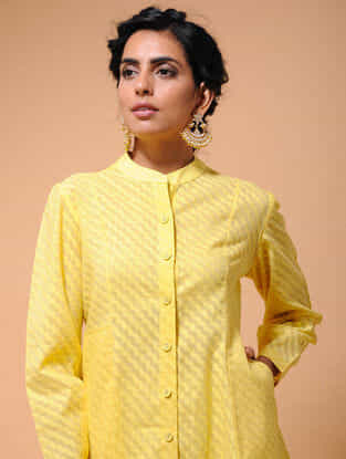 Yellow Cotton Cutwork Button-down Kurta with Pockets