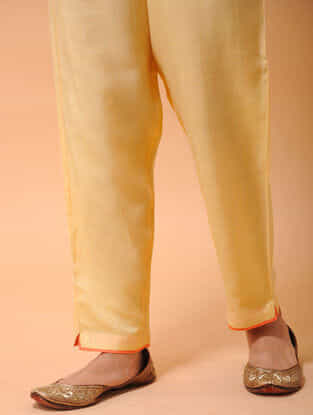 Yellow-Orange Elasticated-waist Silk Cotton Pants