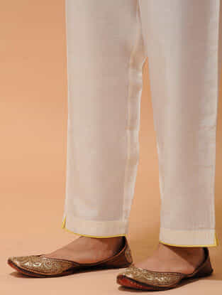Ivory-Yellow Elasticated-waist Silk Cotton Pants