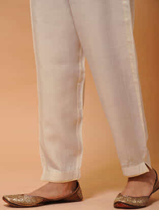 Ivory-Beige Elasticated-waist Silk Cotton Pants