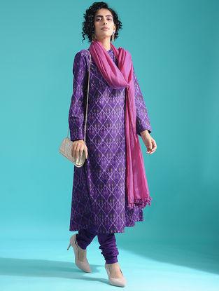Purple Ikat Silk Cotton Kurta