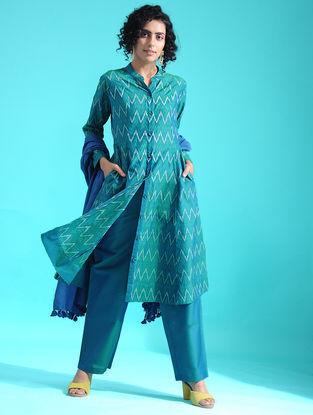Green Ikat Silk Cotton Kurta