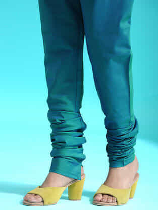 Green Elaticated-waist Handloom Silk Cotton Churidar
