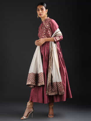 Maroon Vintage Benarasi Silk Brocade and Chanderi Kurta with Gathers
