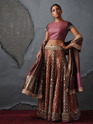 Maroon Tussar Silk Blouse by Jaypore