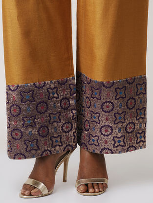 Mustard-Purple Tussar Silk Palazzo with Brocade Border by Jaypore