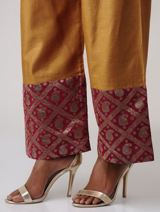 Mustard-Maroon Tussar Silk Palazzo with Brocade Border by Jaypore