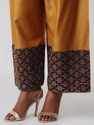 Mustard-Maroon Tussar Silk Palazzo with Brocade Border by Jaypore