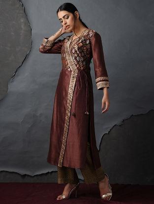 Maroon Vintage Benarasi Silk Brocade Angrakha by Jaypore
