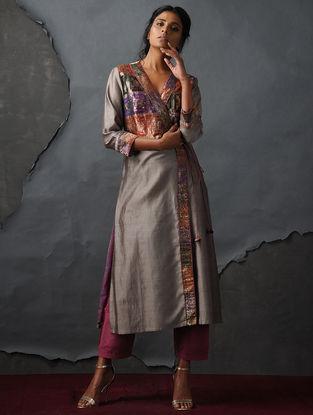 Grey Vintage Benarasi Silk Brocade Angrakha by Jaypore