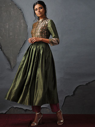 Green Vintage Benarasi Silk Brocade Kurta with Gathers by Jaypore