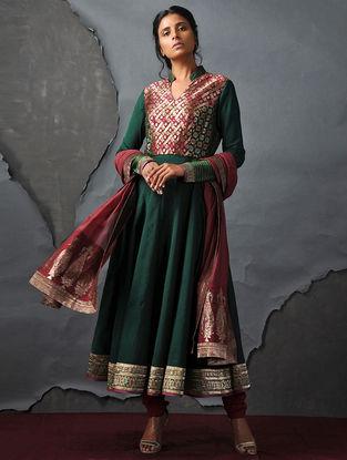 Green Vintage Benarasi Silk Brocade Kalidar Kurta by Jaypore