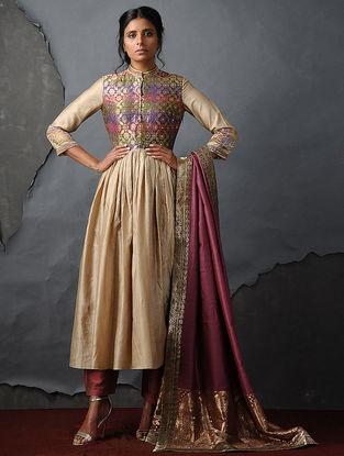Beige Vintage Benarasi Silk Brocade Kurta with Gathers by Jaypore