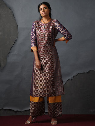 Maroon-Purple Vintage Benarasi Silk Brocade Kurta by Jaypore
