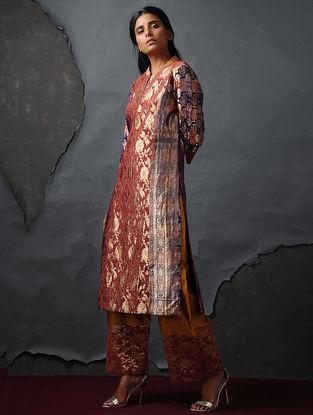Orange-Purple Vintage Benarasi Silk Brocade Kurta by Jaypore