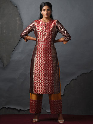Orange-Maroon Vintage Benarasi Silk Brocade Kurta by Jaypore