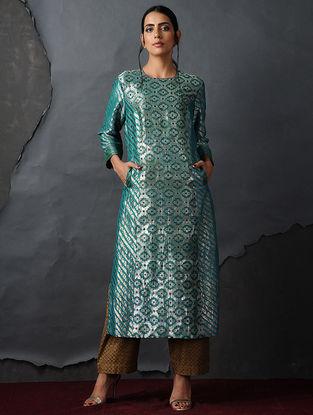 Blue Vintage Benarasi Silk Brocade Kurta with Pockets by Jaypore