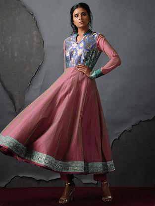 Blue-Pink Vintage Benarasi Silk Brocade Kalidar Kurta by Jaypore
