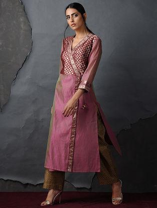 Pink-Maroon Vintage Benarasi Silk Brocade Angrakha by Jaypore