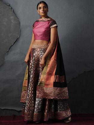Maroon Vintage Benarasi Silk Brocade Lehenga by Jaypore