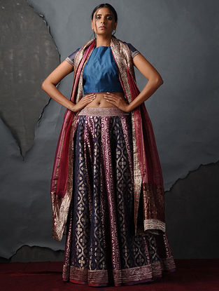 Blue Tussar Silk Blouse by Jaypore