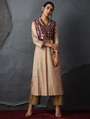 Maroon Vintage Benarasi Silk Brocade Gilet by Jaypore