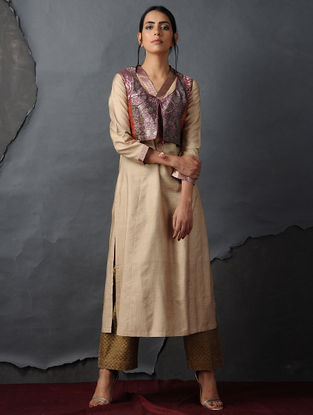 Purple-Orange Vintage Benarasi Silk Brocade Gilet by Jaypore