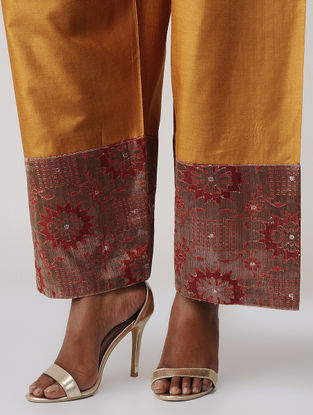 Mustard-Orange Tussar Silk Palazzo with Brocade Border by Jaypore