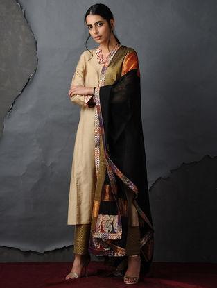 Beige-Red Tussar Silk Kurta by Jaypore