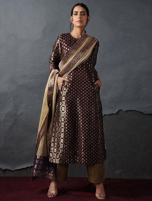 Maroon Vintage Benarasi Silk Brocade Kurta with Pockets by Jaypore