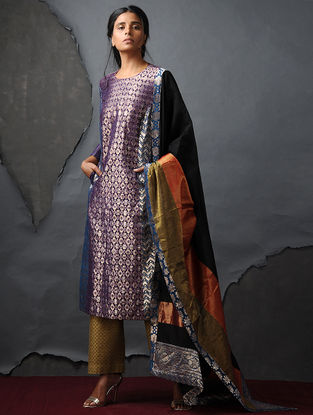 Purple-Blue Vintage Benarasi Silk Brocade Kurta with Pockets by Jaypore