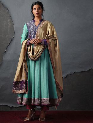 Blue Vintage Benarasi Silk Brocade Kalidar Kurta by Jaypore
