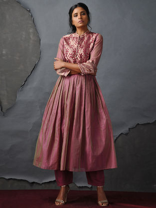 Pink Vintage Benarasi Silk Brocade Kurta with Gathers by Jaypore