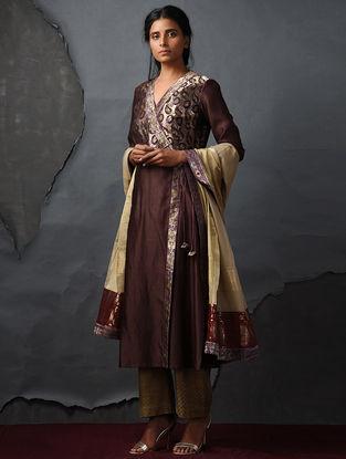 Brown Vintage Benarasi Silk Brocade Angrakha by Jaypore