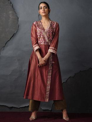 Rust Vintage Benarasi Silk Brocade Angrakha by Jaypore