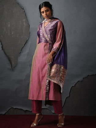 Pink Vintage Benarasi Silk Brocade Angrakha by Jaypore