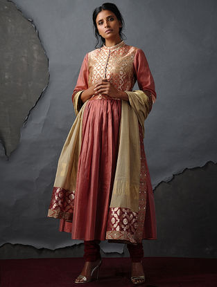 Coral Vintage Benarasi Silk Brocade Kurta with Gathers by Jaypore