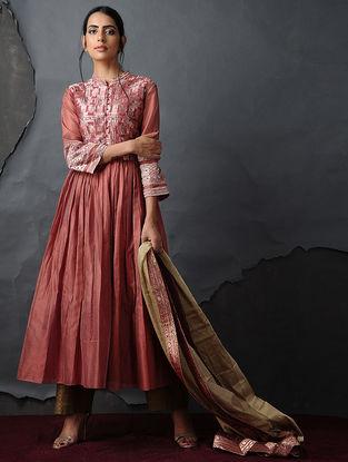 Coral Vintage Benarasi Silk Brocade Kurta with Gathers by Jaypore