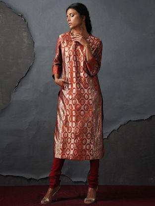 Orange Vintage Benarasi Silk Brocade Kurta with Pockets by Jaypore