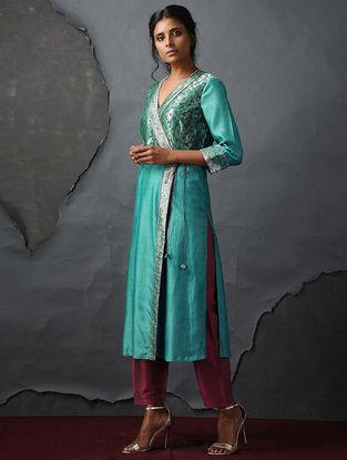 Blue Vintage Benarasi Silk Brocade Angrakha by Jaypore