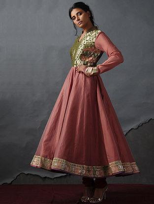 Coral-Green Vintage Benarasi Silk Brocade Kalidar Kurta by Jaypore
